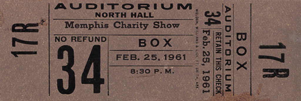 Ticket Elvis Memphis Charity Show - 25.02.1961
