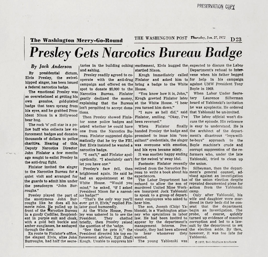 Washington Post Artikle - Presley Gets Narcotics Bureau Badge - 27. Januar 1972