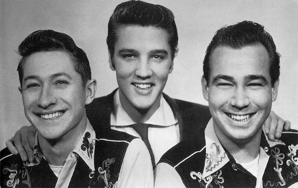 Die Original Besetzung der Blue Moon Boys 1954. Scotty Moore, Elvis Presley und Bill Black
