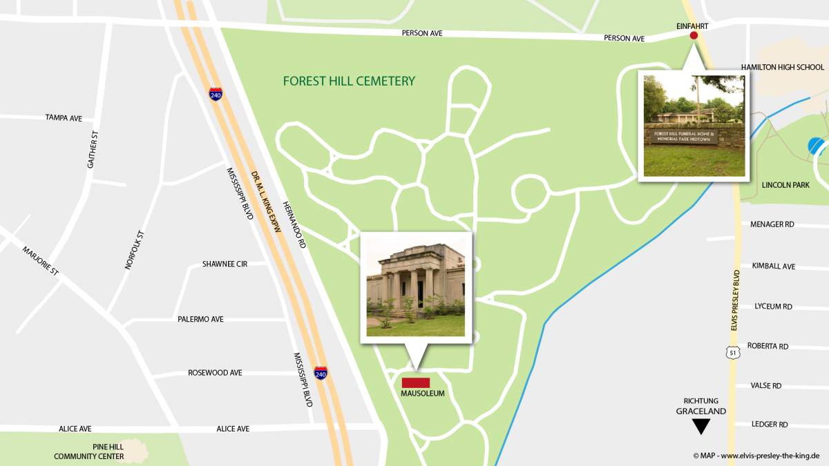Forest Hill Cemetery, Memphis,, Map