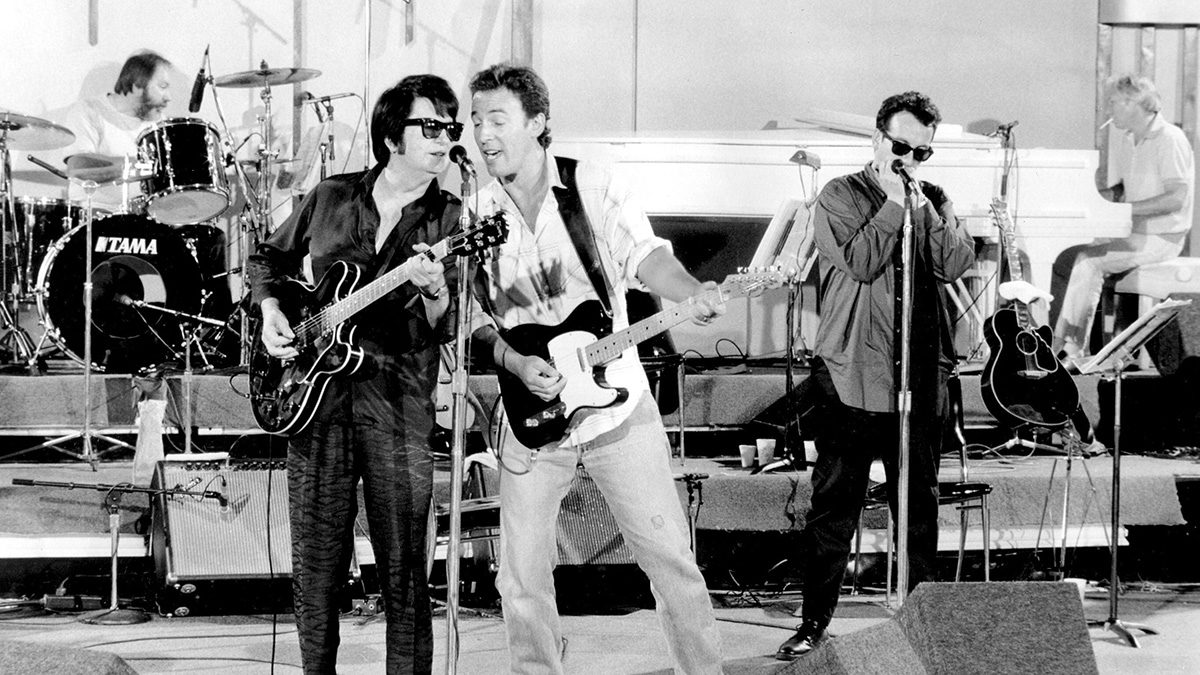 Ron Tutt, Roy Orbison, Bruce Springsteen and Elvis Costello 1988