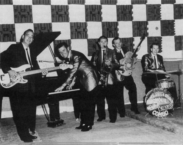 Bill Black, Carl McVoy, Ace Cannon, Chips Moman and Jerry Arnold at Hi Records Studio 1960
