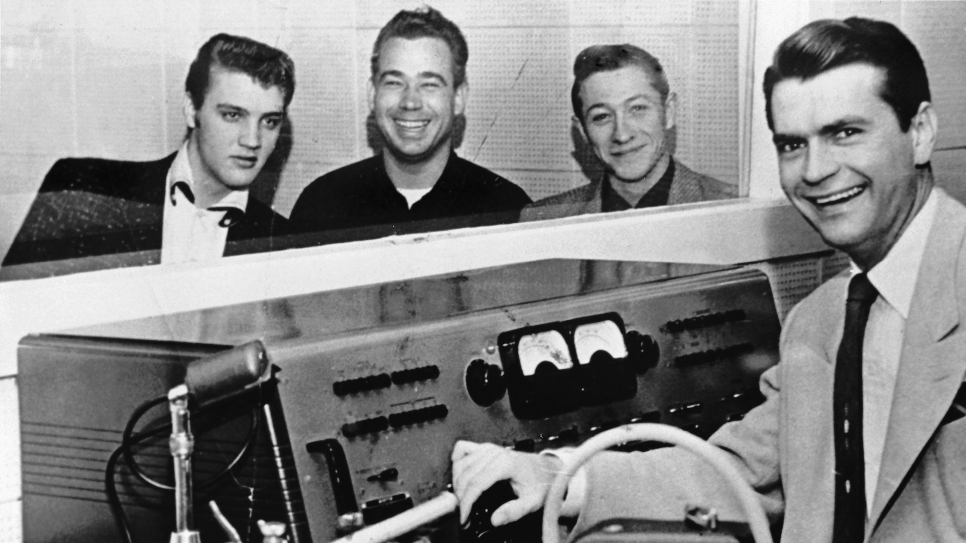 Elvis, Bill Black, Scotty Moore und Sam Phillips